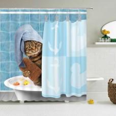 Duschvorhang Katze duscht